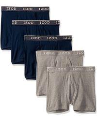 Izod 5 Pack Cotton Boxer Brief - Gray