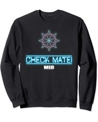 Perry Ellis In Black Check Mate Neon Logo Sweatshirt - Blue