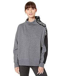 Calvin Klein - Logo Inset Dolman Cowl Neck Pullover - Lyst