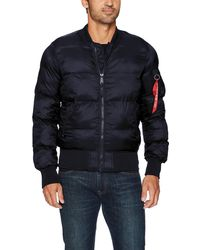 Alpha Industries Men/'s Replica Blue MA-1 Echo Puffer Quilted Flight Jacket