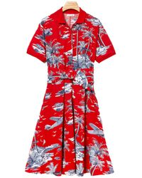 Lacoste S/s Belted Hawaiian Print Pique Polo Dress - Red