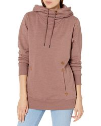Volcom Tower Pullover Heather Fleece Hooded Baselayer Sweatshirt - Pink