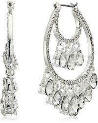 Anne Klein Crystal Shaky Hoop Earrings - Metallic