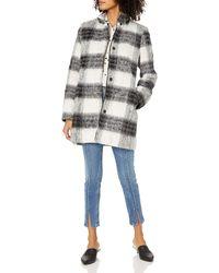 Kensie Mohair Wool Stand Collar Blanket Plaid Coat - Multicolor