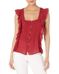Jessica Simpson Allan Sleeveless Ruffled Button Front Blouse - Red