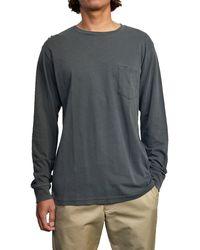 RVCA Mens Ptc Pigment Long Sleeve Crew Neck Pocket T-shirt T Shirt - Black