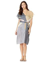 Gottex Short Sleeve Belted Kimono Wrap Swimsuit Cover Up - Gray