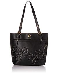 Anne Klein Vern Quilted Micro Studded Pocket Tote - Black