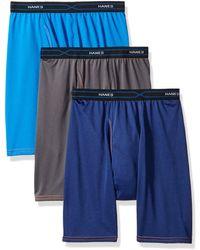 Hanes 3-pack X-temp Performance Cool Long Leg Boxer Brief - Blue