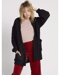 Volcom Knit List Oversized Chunky Cardigan Sweater - Black