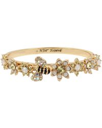 Betsey Johnson Bumble Bee & Mixed Flower Hinged Bangle Bracelet - Yellow