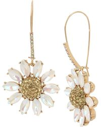 Betsey Johnson Pave Daisy Flower Dangle Earrings - Yellow