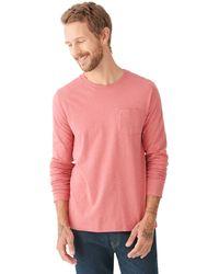 Lucky Brand Long Sleeve Crew Neck One Pocket Sunset Tee Shirt - Red