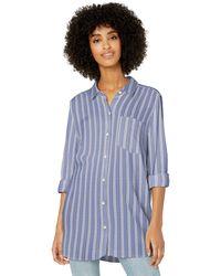 Goodthreads Modal Twill Long-Sleeve Button-Front Shirt Dress-Shirts - Blu