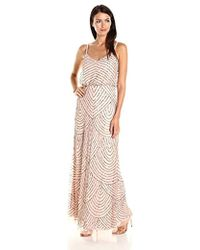 Adrianna Papell Envelope Cap Sleeve Beaded Gown - Multicolor