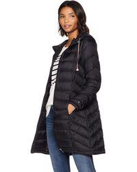Tommy Hilfiger Mid Length Packable Down Chevron Quilt Coat, Black, Xs