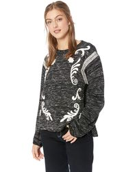 Lucky Brand Embroidered Twill Pullover Sweater - Black