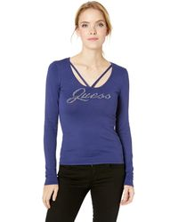 GUESS Womens Long Sleeve Holly Pearl Logo Sweater
