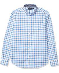 Nautica Oxford Plaid Long Sleeve Button Down Shirt - Blue