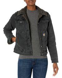 Carhartt Rugged Flex Denim Sherpa-lined Jacket - Black