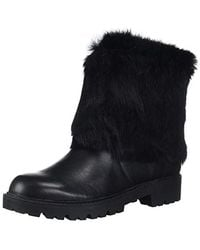 Charles David Rabbit Fur & Leather Ankle Boots - Black