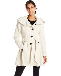 Steve Madden Single Breasted Wool Coat - White