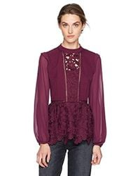 Kensie - Smooth Stretch Crepe Floral Lace Ruffle Top - Lyst