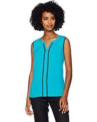Calvin Klein - Sleeveless Piped V-neck Top - Lyst