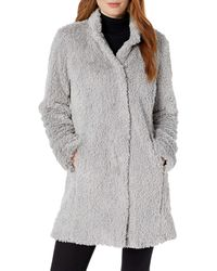 Kenneth Cole Mid Length Faux Fur Jacket - Metallic