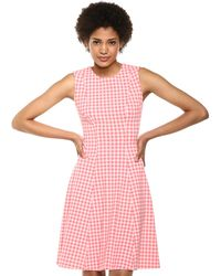 Tommy Hilfiger Petite Gingham Jacquard Fit & Flare Dress - Pink