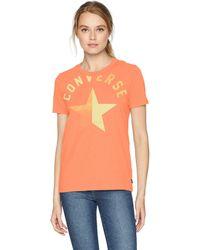 Converse Split Star Short Sleeve Crew T-shirt - Orange