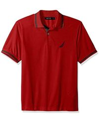 Nautica Performance Wicking And Stain Resistant Solid Polo Shirt - Red