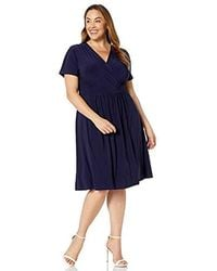 Anne Klein Size Plus Cotton Fit And Flare Dress - Blue