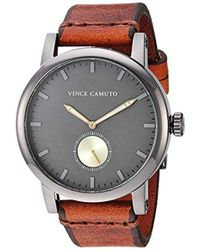 Vince Camuto Vc/1108gydg Gunmetal And Brown Leather Strap Watch