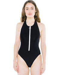 American Apparel Nylon Tricot Zip Up Sleeveless One Piece - Black