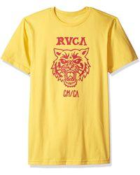 RVCA Mascot Short Sleeve Crew Neck T-shirt - Yellow