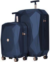 """Kensie 2 Piece Or 20"""" 3d Gemstone Luggage Set - Blue"""