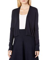 Lark & Ro Lightweight Long Sleeve Cropped Cardigan Sweater - Blue
