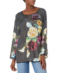 Johnny Was Silk Floral Printed Blouse - Multicolor