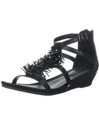 Kenneth Cole Reaction Fringe T-strap Wedge Sandal - Black