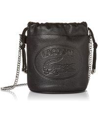 Lacoste Croco Crew Drawstring Bucket Bag - Black