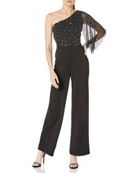 Adrianna Papell Embellished One-shoulder Jumpsuit - Black