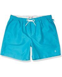 Original Penguin Quick Dry Daddy Polo Elastic Waist Swim Short - Blue