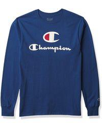 Champion Mens Classic Graphic Long Sleeve Tee T Shirt - Blue