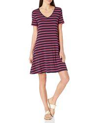 Amazon Essentials Short-Sleeve V-Neck Swing Dress Dresses - Rosso