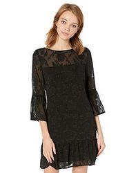 BB Dakota Let's Toast Floral Jacquard Chiffon Dress - Black