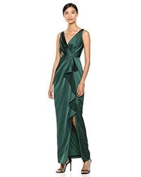 Adrianna Papell Draped Full - Length Gown - Green