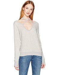 Pam & Gela Rib Cross Neck Sweatshirt - Gray