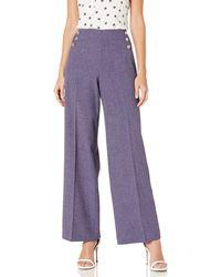 Anne Klein High Waisted Wide Leg Pant - Purple