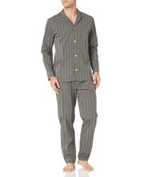 Hanro Night & Day Woven Long Sleeve Pajama Set - Gray